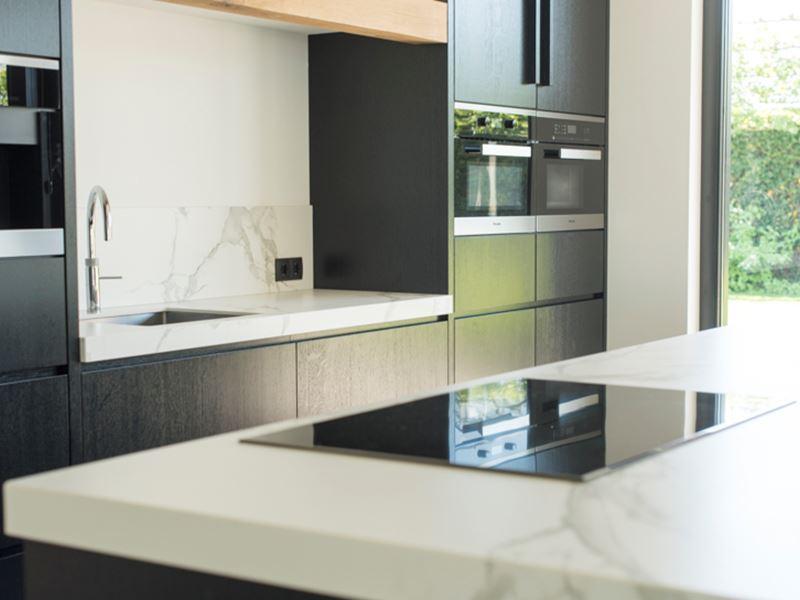 Keuken Eiken Zwart : ≥ showroomkeukens eiland mat zwart beton greeploos eiken